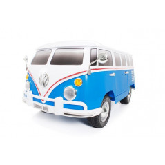 Bus VW Bulli T1 Samba Camper Blue 2 places 12 volts Electric for children with parental remote control