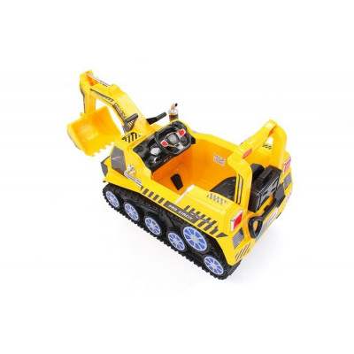 Electric yellow excavator for children 6 volts with parental remote control