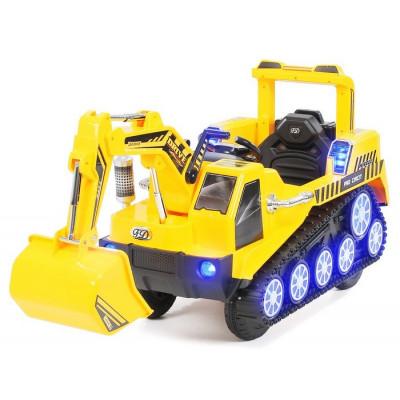 Pelleteuse Jaune Electrique pour enfant 6 Volts avec télécommande parentale Tracteurs électriques pour enfants  PEL/JAUNE