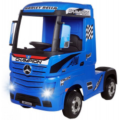 Mercedes Actros Blue with trailer, 12 Volts, Electric child truck with 2.4 Ghz remote control, EVA wheels
