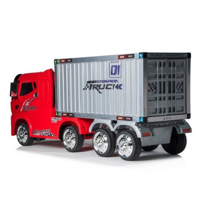 Red container truck, Electric 12 volts for children, RC function