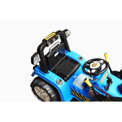 Tracteur Pelleteuse Electrique Pour enfant 12 Volts Bleu, télécommande parentale