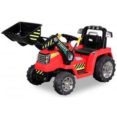 Tracteur Pelleteuse Electrique Pour enfant 12 Volts Rouge, télécommande parentale Tracteurs électriques pour enfants  ZP1005R