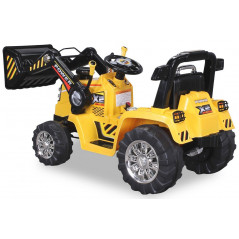 Tracteur Pelleteuse Electrique Pour enfant 12 Volts Jaune, télécommande parentale